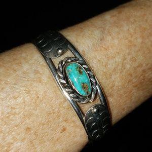Vintage Turquoise Sterling Silver Cuff Bracelet